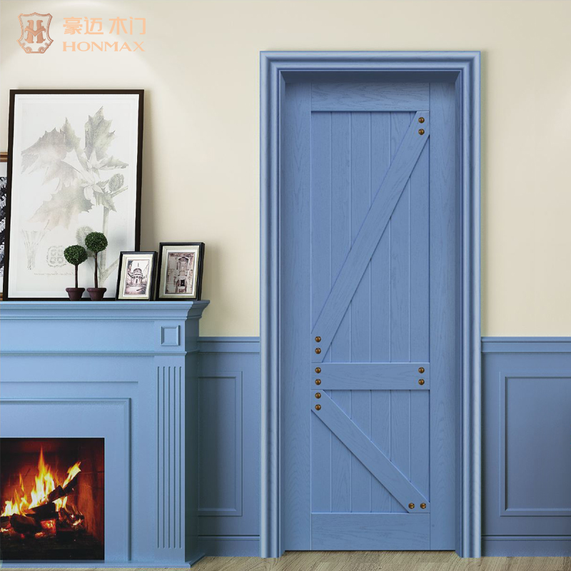 HONMAX pastoral style interior barn door design solid wood door with color