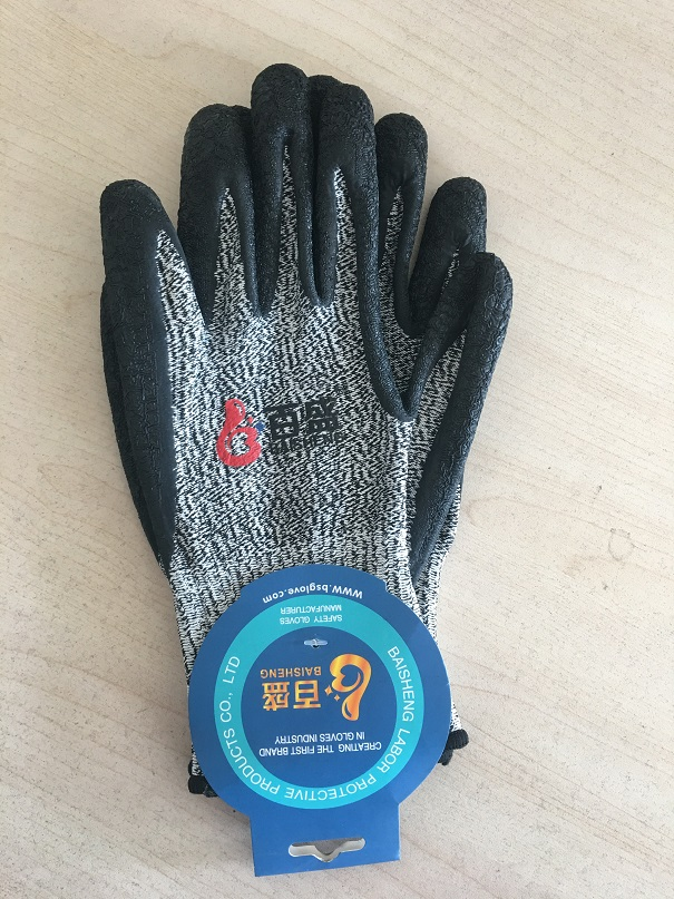 Level 5 HPPE liner with latex crinkle finished palm coating glove