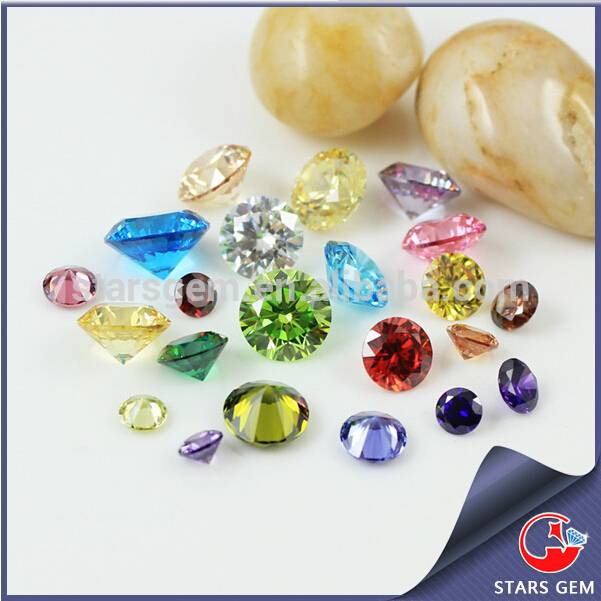 Multi-color Round Shape Brilliant Star Cut Synthetic Cubic Zirconia