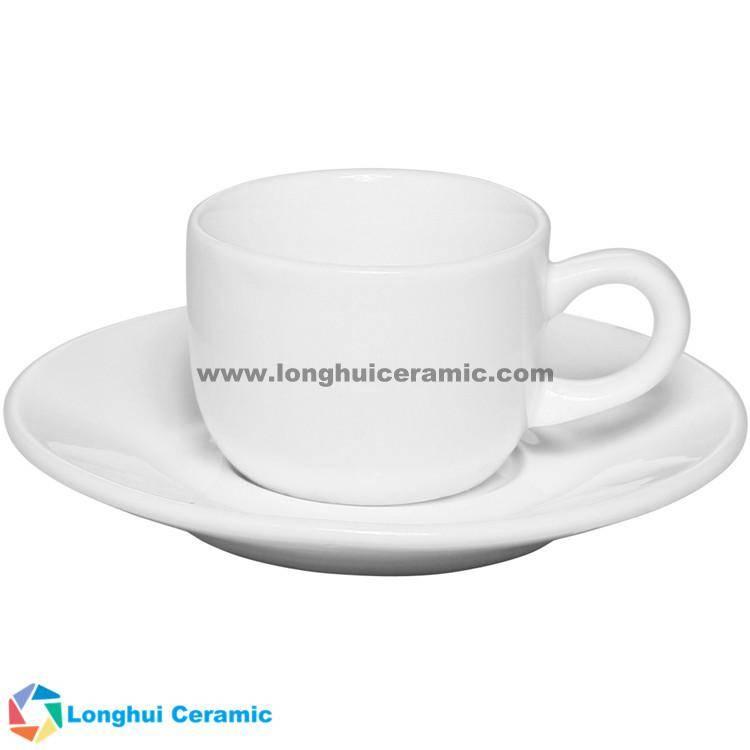 2.5oz Cheap custom white porcelain Espresso cup saucer set