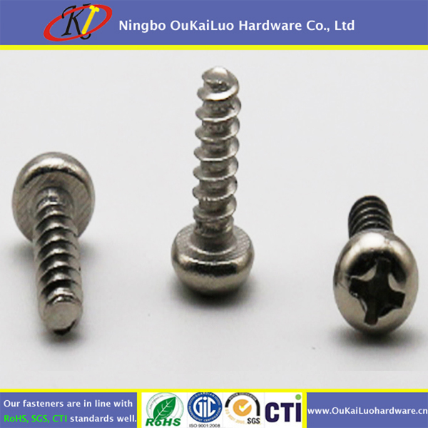 Nickel round head cross recessed self trapping screws