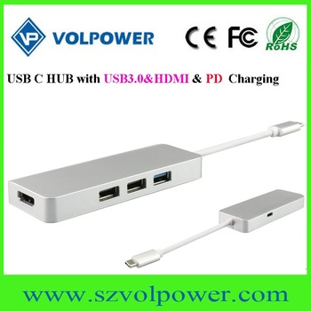 New product USB 3.1 type c hub with 2 port usb 3.0 hub for macbook
