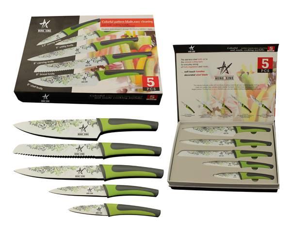 5pc heat transfer kitchen knife set