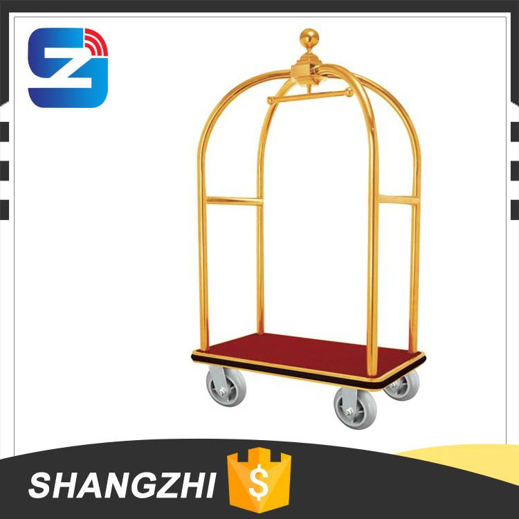 Hotel Stainless Steel Lobby Bellman Luggage Trolley