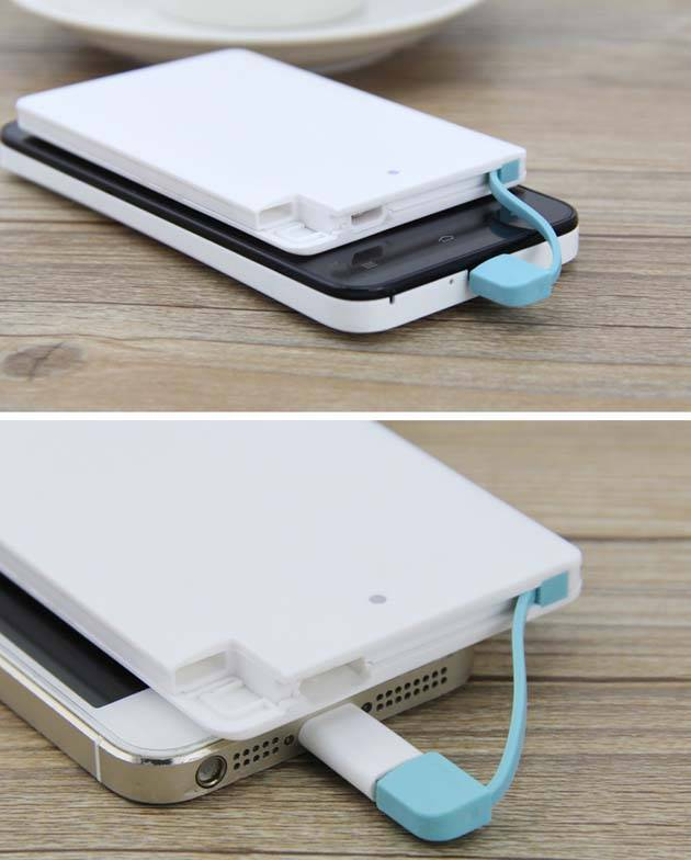 built in cable power bank card size,smart power bank