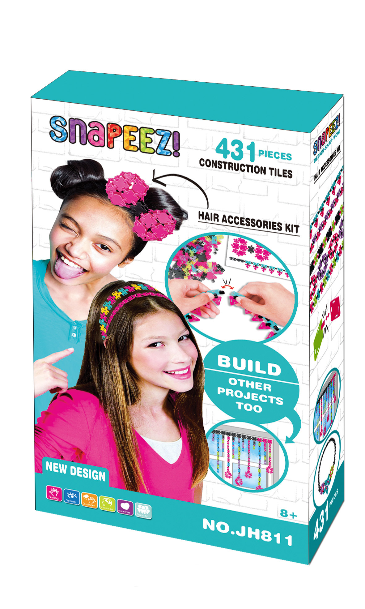 building block for girls to assemble bag and headwear