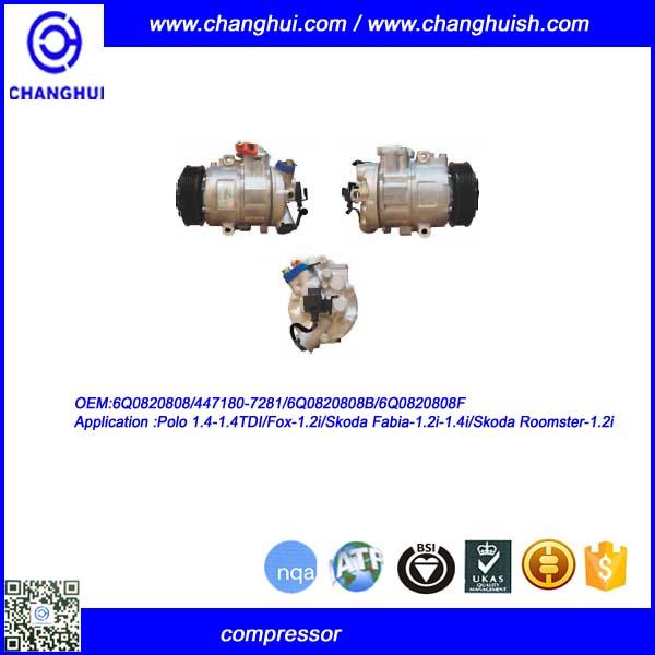 OEM 6Q0820808 A/C COMPRESSOR FOR Polo 1.4-1.4TDI/Fox-1.2i/Skoda Fabia 1.2i-1.4i/Skoda roomster-1.2i