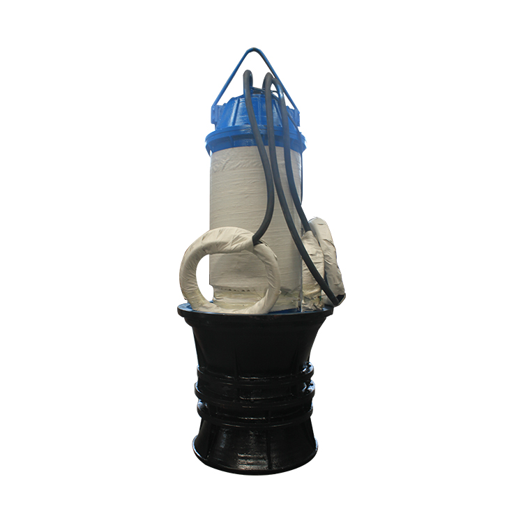 Large flow submersible axial flow centrifugal pump with non-clogging impeller