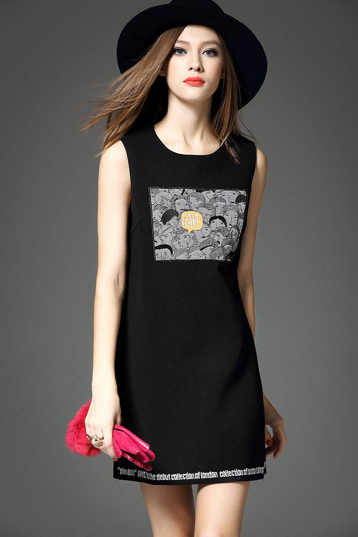 2015 europea popular embroidery cartoon sleeveless dress for ladies