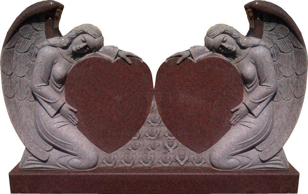Angel carved double heart shape stone monument