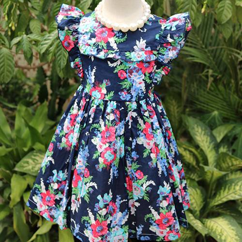 Unique sleeve cute baby flower kids clothes girls dress with cotton smocked