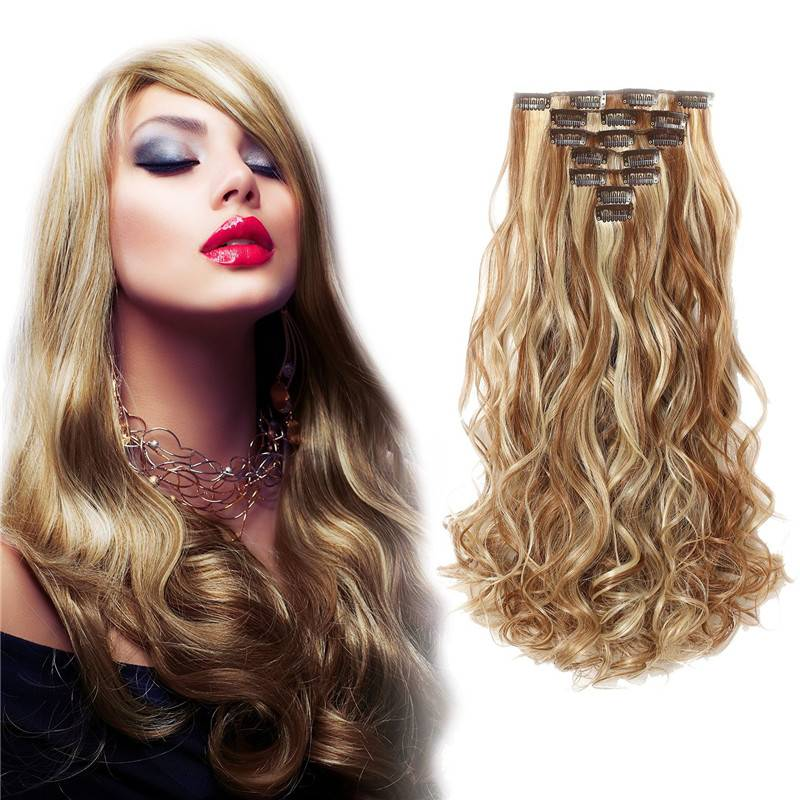 "P8/613# natural looking 20"" Curly Full Head Hair Extensions"