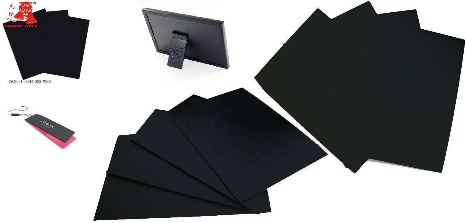 Laminated 2000gsm black paperboard/1700gsm cardboard paper/1800gsm paper board/1900gsm hang tag blac