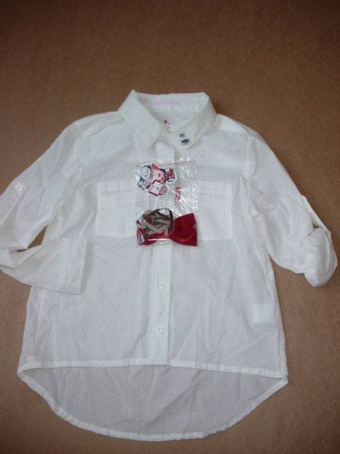 girls pure white shirts with bowknot