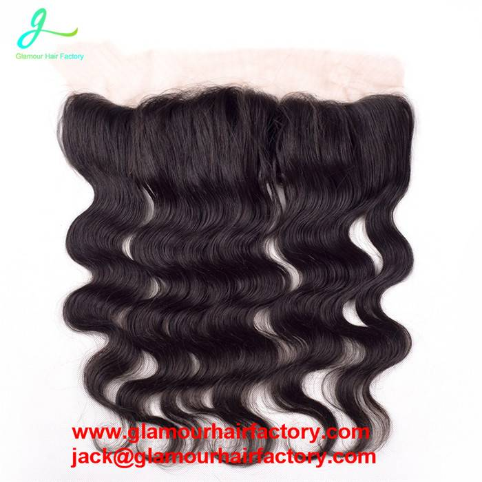 Brazilian Lace Frontal Closure body wave With Baby Hair Bleached Knots Virgin Human Hair Full Fronta