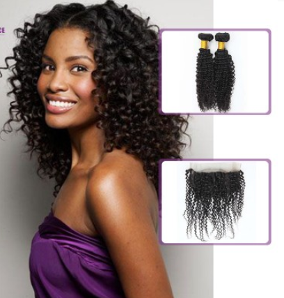 [8A]2 Bundles Malaysian Kinky Curly Hair Weave with 360 frontal