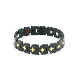 Healthy Care Element Star Pattern plating gold&black  Bracelet