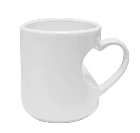 11oz Heart Shape Handled White Ceramic Mug