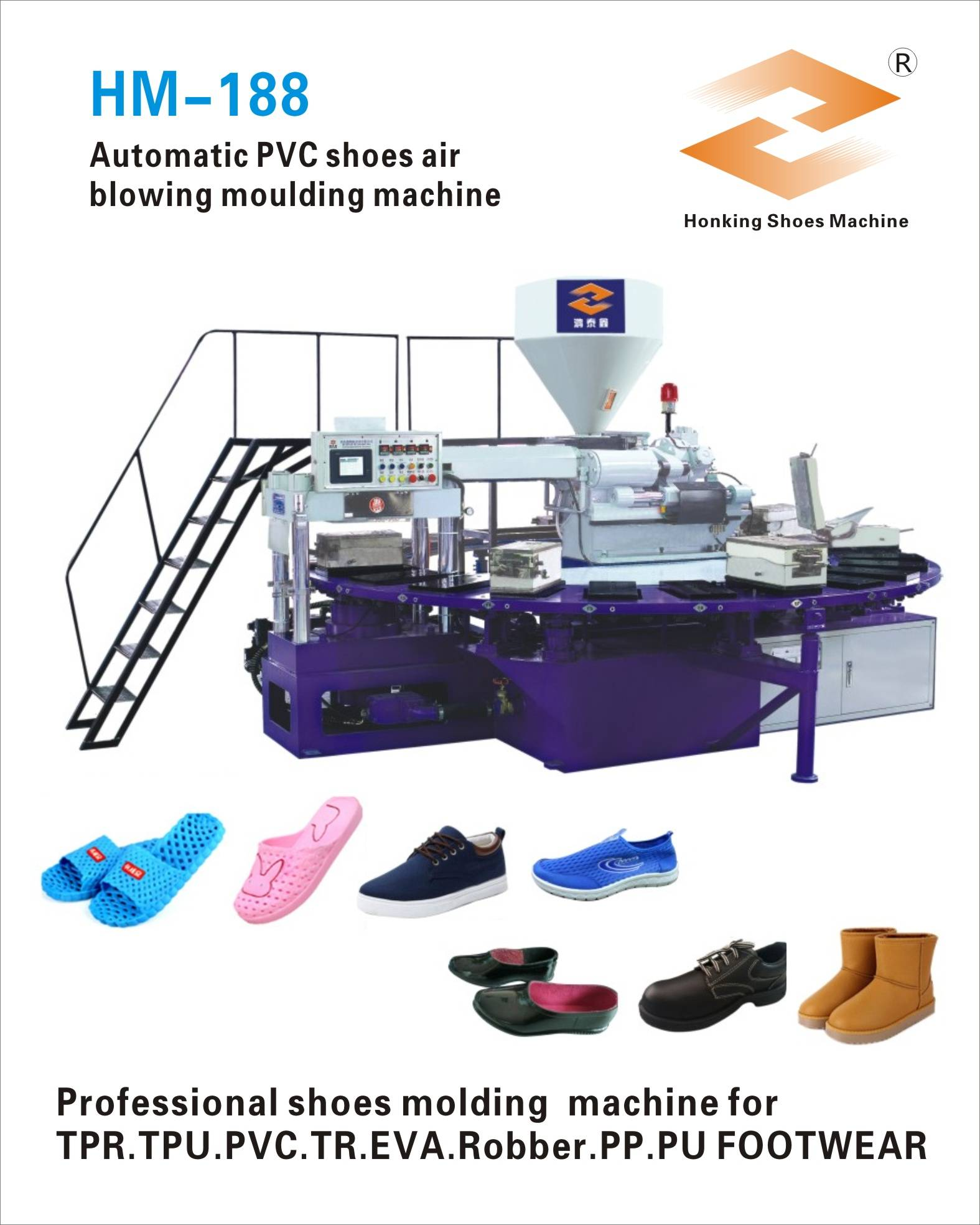 HM-188 Rotary PVC air blowing slippers making machine