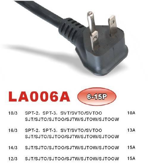 NEMA 6-15P LA006A Power Supply Cord