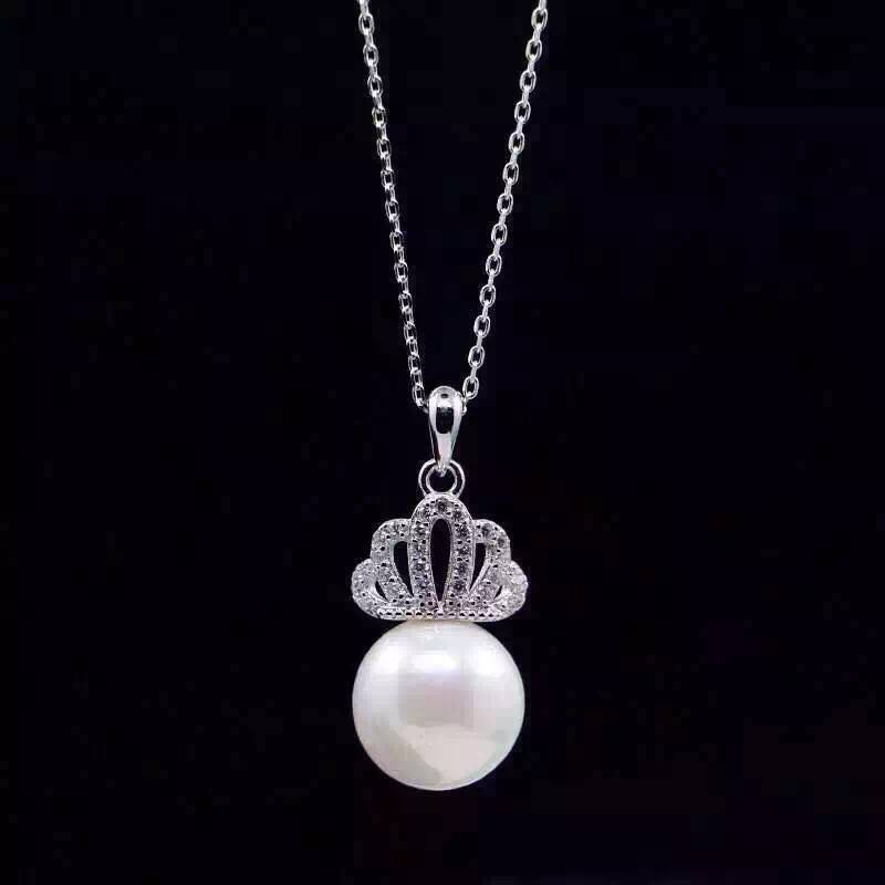 NEFFLY 2016 NEW ARRIVAL 925 SILVER CROWN PEARL Noble lady Pendant necklace FREE SHIPPING