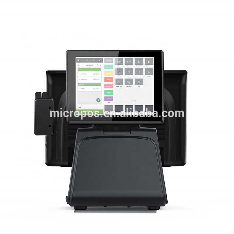 Dual screen all in one pc with PCAP 15 inch pos system touch screen