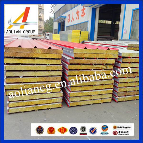 Color steel rock wool sandwich panel for roof (ISO 9001)