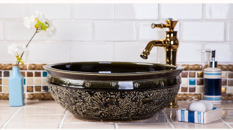 Vintage High-end Classical Handmade High Temperature Firing Washstand Ceramic Wash Basin Sinks