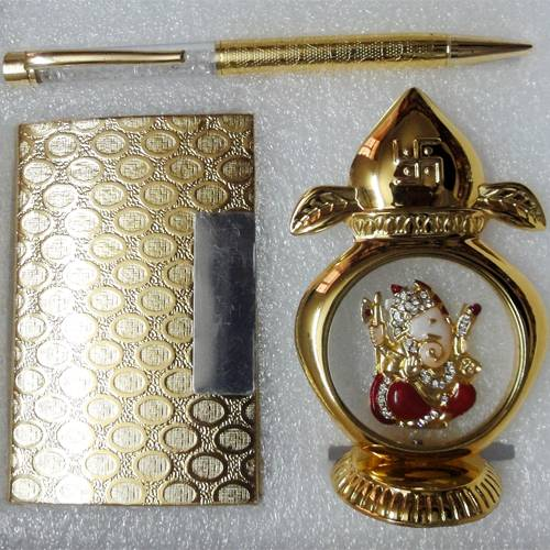 All 24k Gold Plated - Crystal Studded Pen, Table Show Piece and Business Card Holder - Combo Corpora