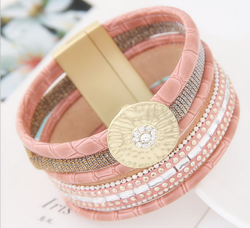 Pink Pu Leather bangle Bead Multi Layer Vintage Bangle