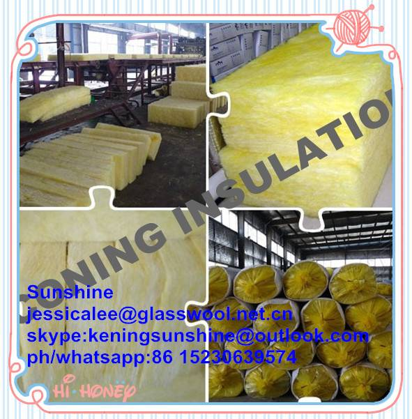 Fireproof fiber glass wool insulation batts for wall and ceiling insulation batts