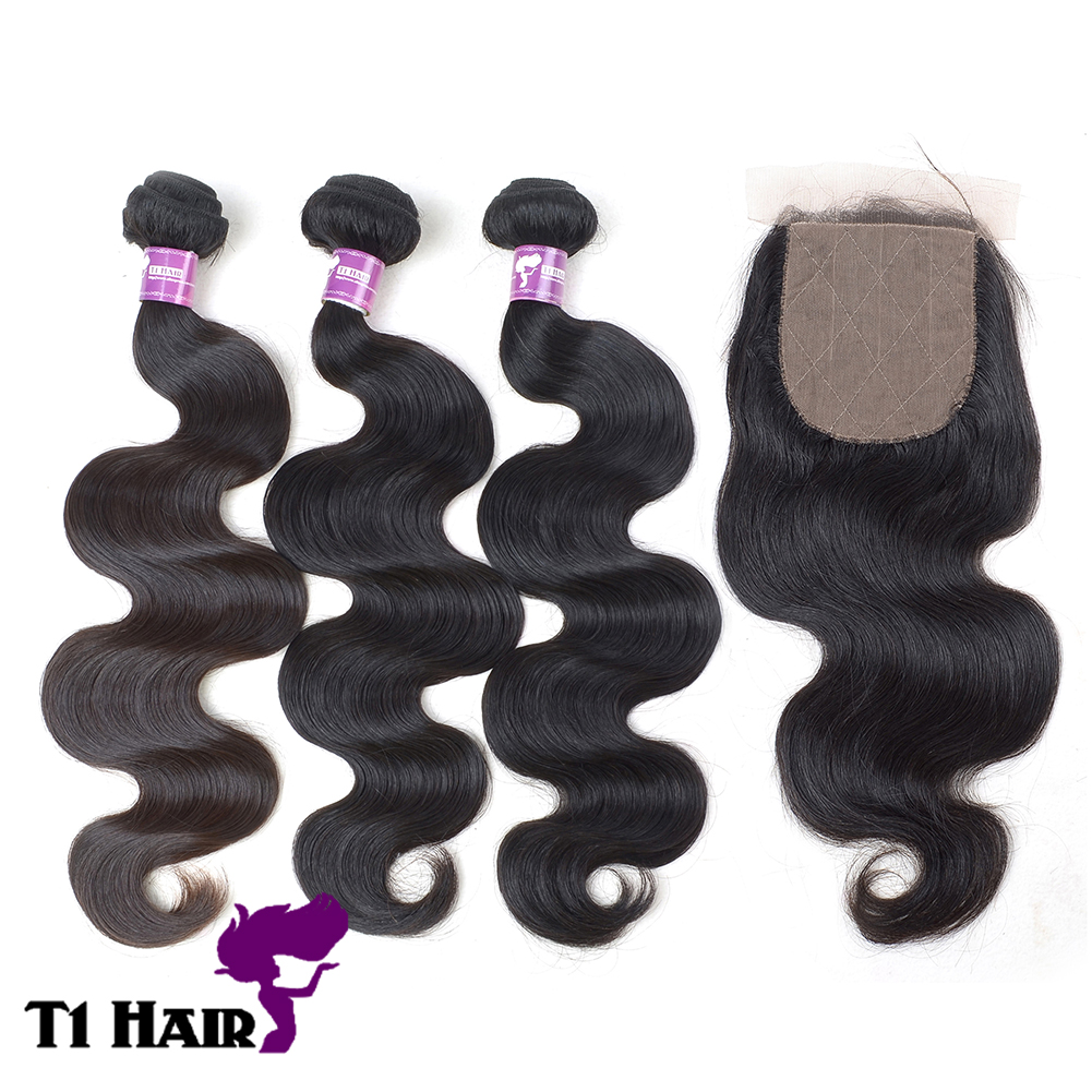 T1 Hair Grade 5A 3 Bundles Brazilian Virgin Remy Body Wave Hair Weave Extensions with 4 4 Free Part