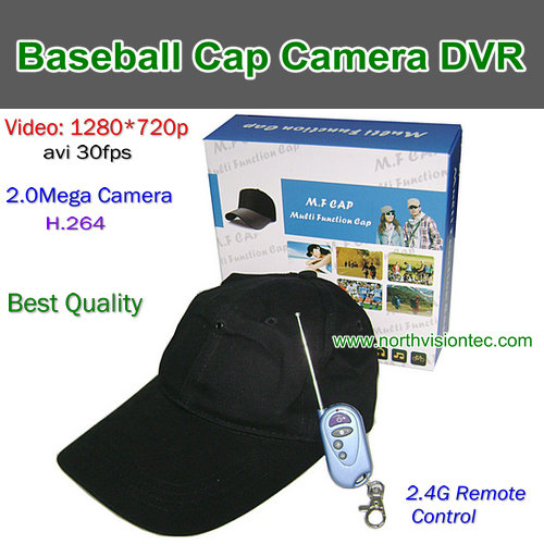 HD-H7,Baseball Cap Camera DVR, Best Quality, 1280720P .30FPS H.264,Wireless Remote Control, TF Card