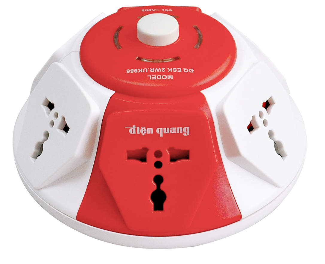 Socket Dien Quang UFO shape 6 ways 3 pins wire 2m white and red color