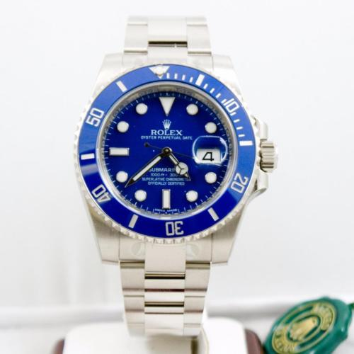 New Rolex SUBMARINER 116619 Mens White Gold Blue Ceramic Bezel Oyster Blue Dial 40MM Watch