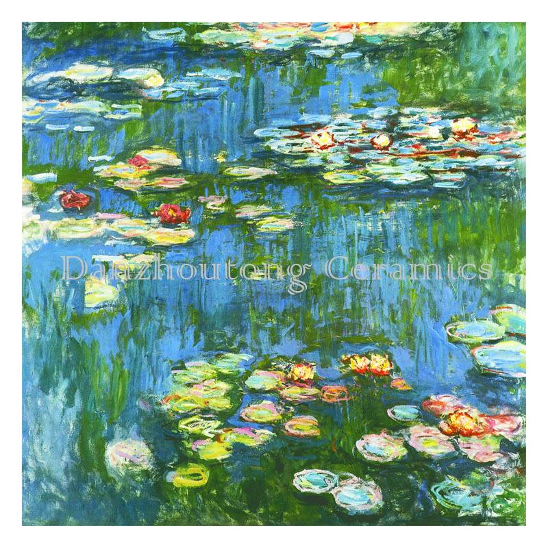 water lilies by monet emulated on ceramic tiles