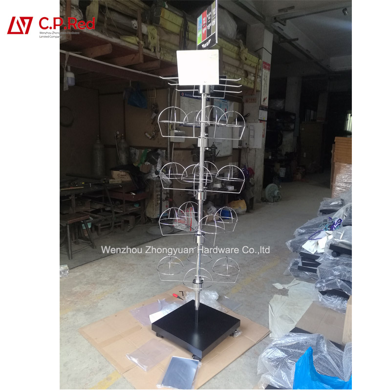 Metal Retail Store Mesh Stand Grid Wire Metal Hat Cap Display Rack stand for grocery shop