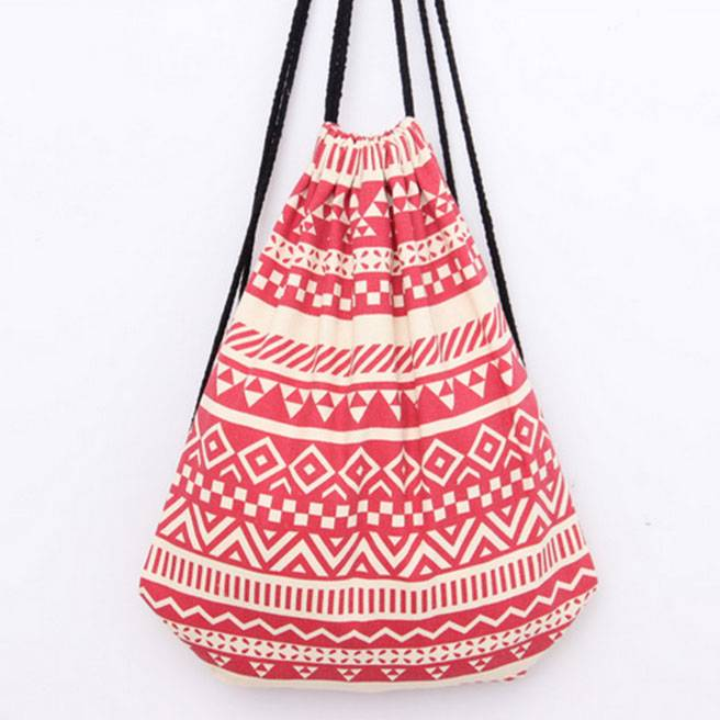 Cotton backpack shoulder bag drawstring sport leisure bags