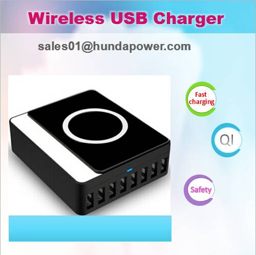 2 in 1 Qi enable Wireless Intelligent USB Charger With 8 smart usb port