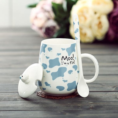 Creative ceramic coffee mug with lid&spoon