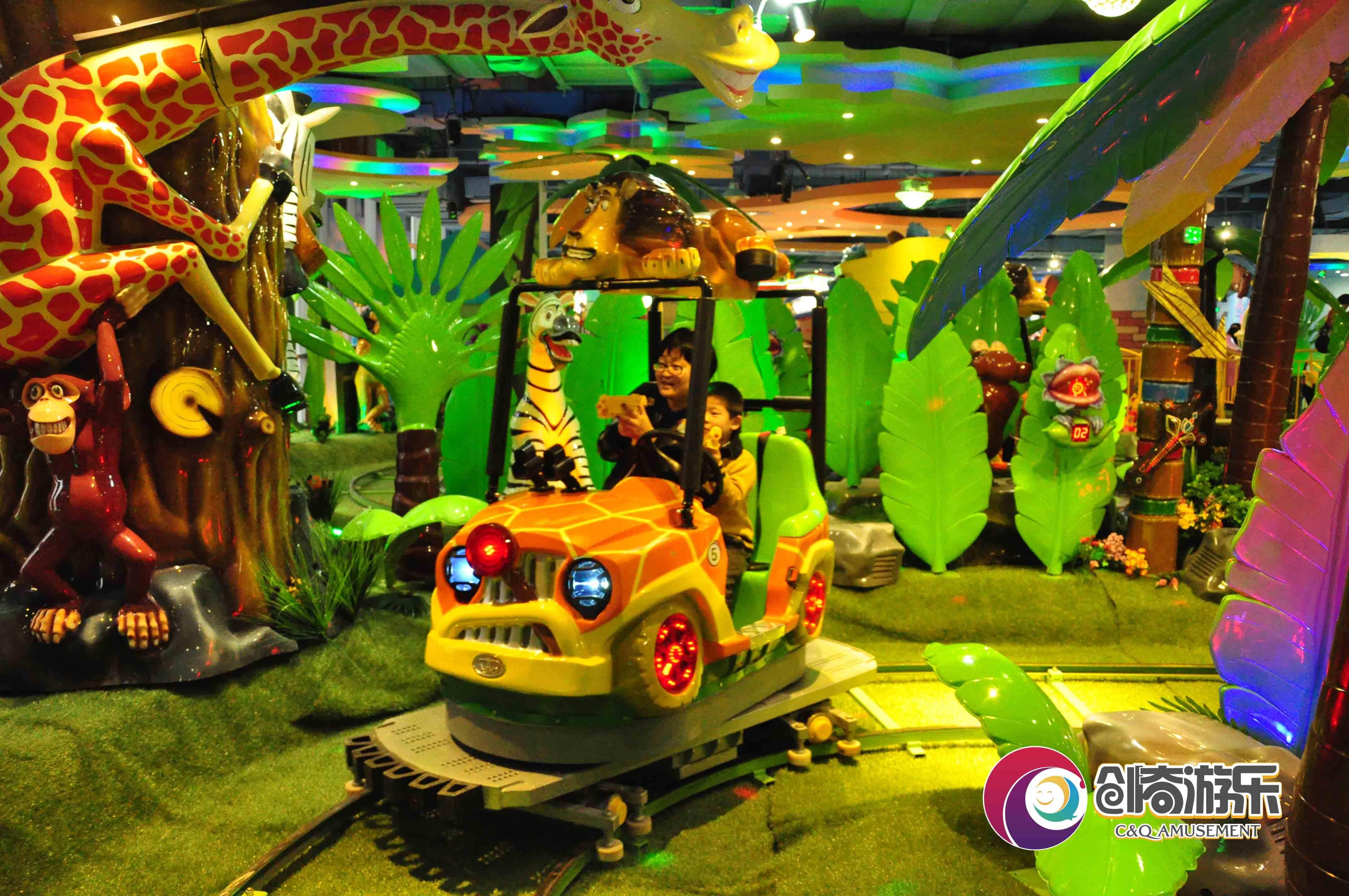 Jungle Safari for amusement park, shooting car, track rides
