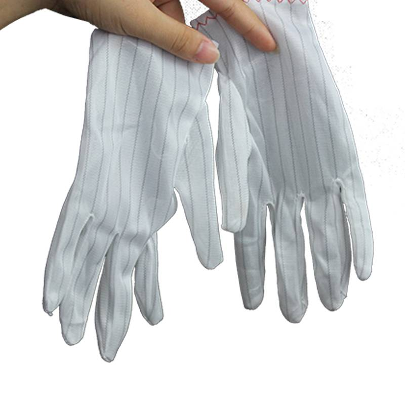 Conductive Fiber Polyester Fabric Anti Static Glove No Streak No Dust