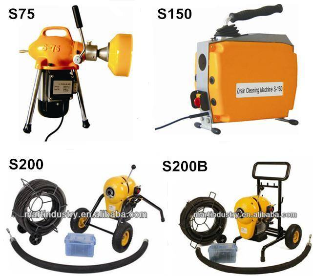 8'' electric sewer snakes and drain cleaning machine S200