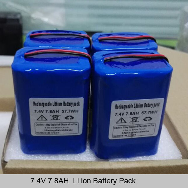 7.4v 7.8ah 18650 li ion battery pack deep cycle rechargeable batteries