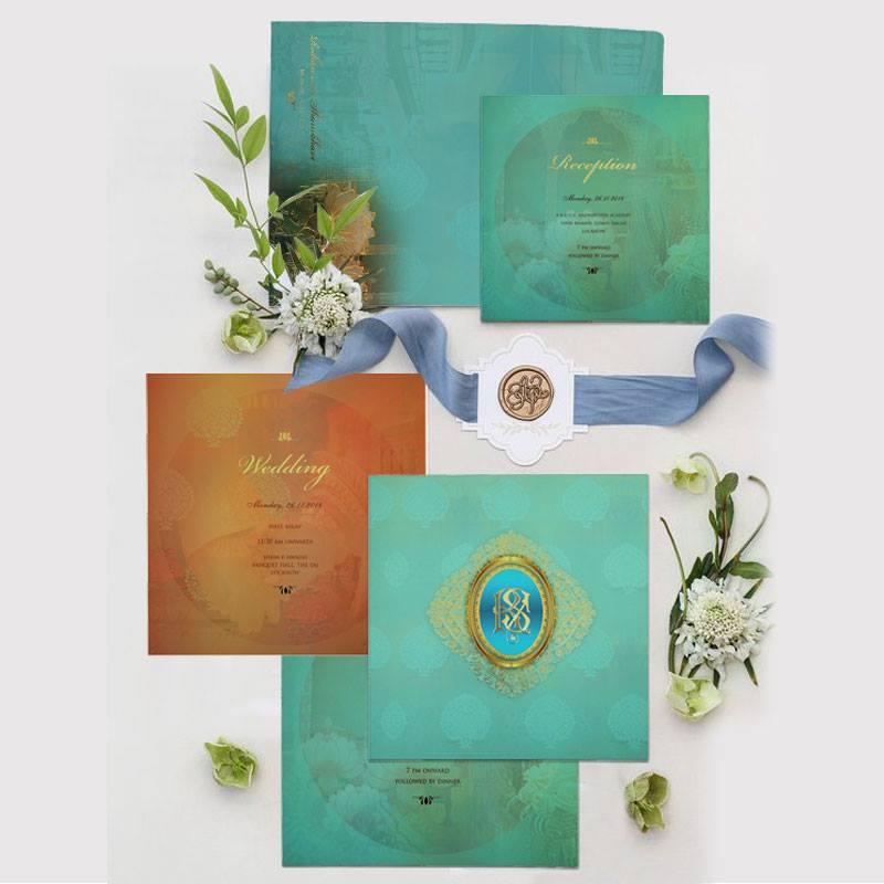 MATTE FLORAL THEMED - FOIL STAMPED WEDDING INVITATION : CD-1822