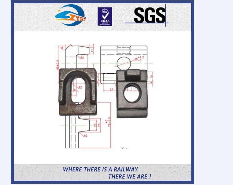 ZhongYue Crane Clip 21/050 For A75 , QU80 Crane Rail , Q235 Oiling Crane Rail Clamp with 16mm Bolt