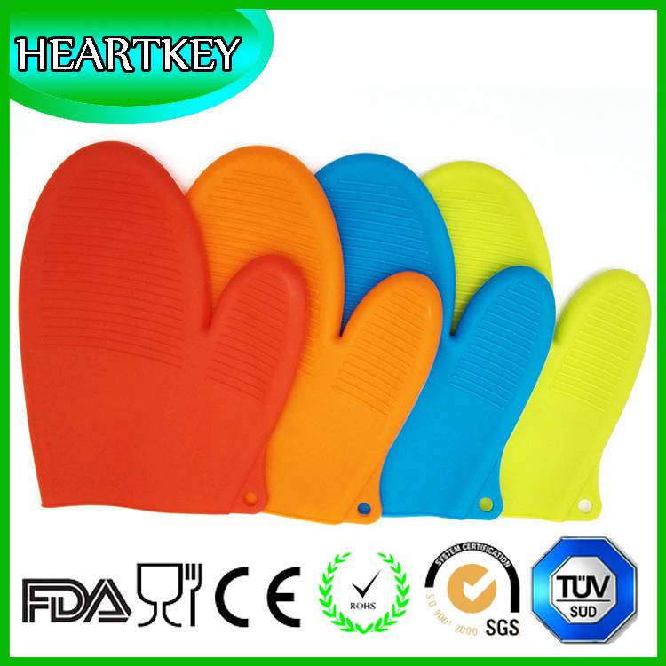 High quality extra long silicone oven mitts heat protective glove with cotton GVJMX06