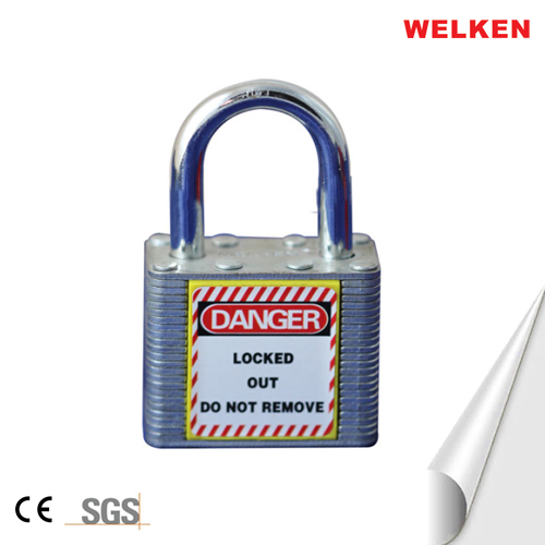 Laminated steel short shackle padlock