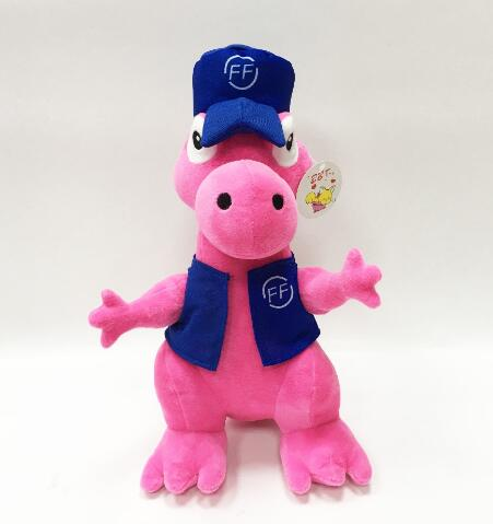 Custom soft dinosaur plush pink toy in clothes and hat