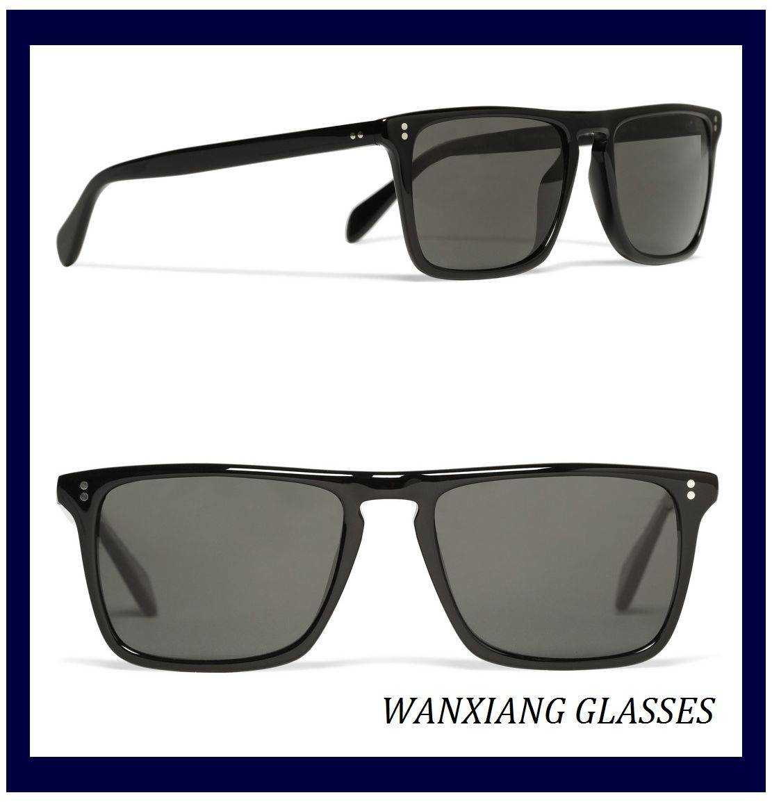 Polarized Black Acetate Retangular-Frame Sunglasses UV Protection